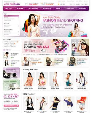 韩国Asa Fashion紫色大气PSD网站模版