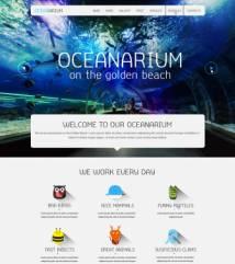 扁平化布局海底世界宣传网站PSD模板