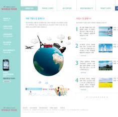 扁平化布局的韩国旅游网站PSD模板