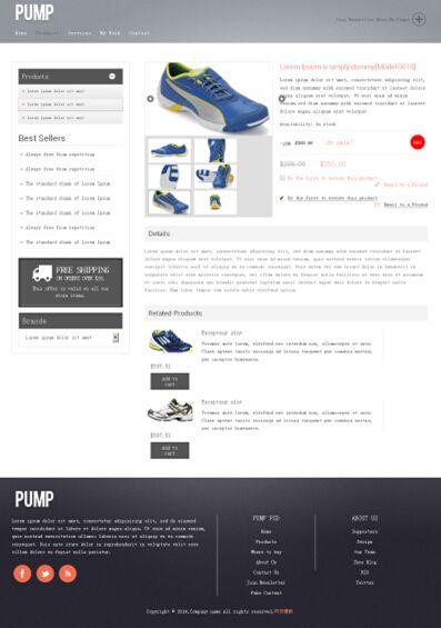 国外运动鞋商城html+css模板