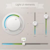 Light UI elements 拟物化质感网页按钮PSD源文件