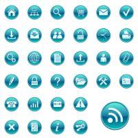 湖蓝色圆形网页按钮矢量图格式