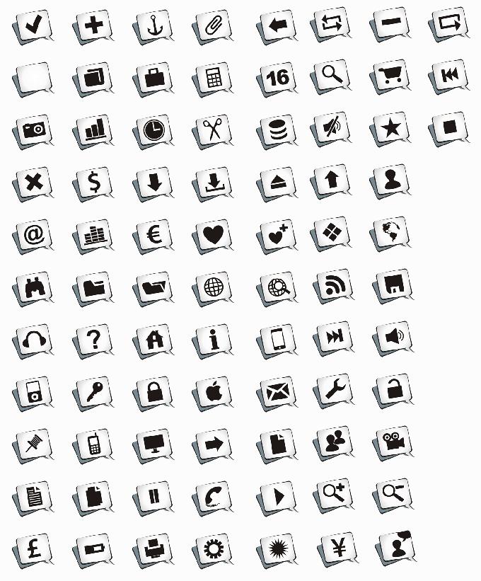 超大的多达80款卡通气泡对话框效果的网页图标