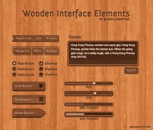 木纹导航、木纹按钮、木纹输入框PSD素材