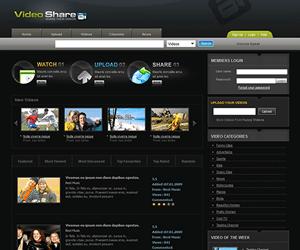 黑色视频分享网站html静态模板
