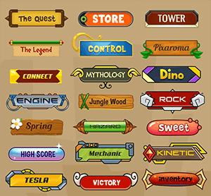 卡通游戏按钮PSD分层素材
