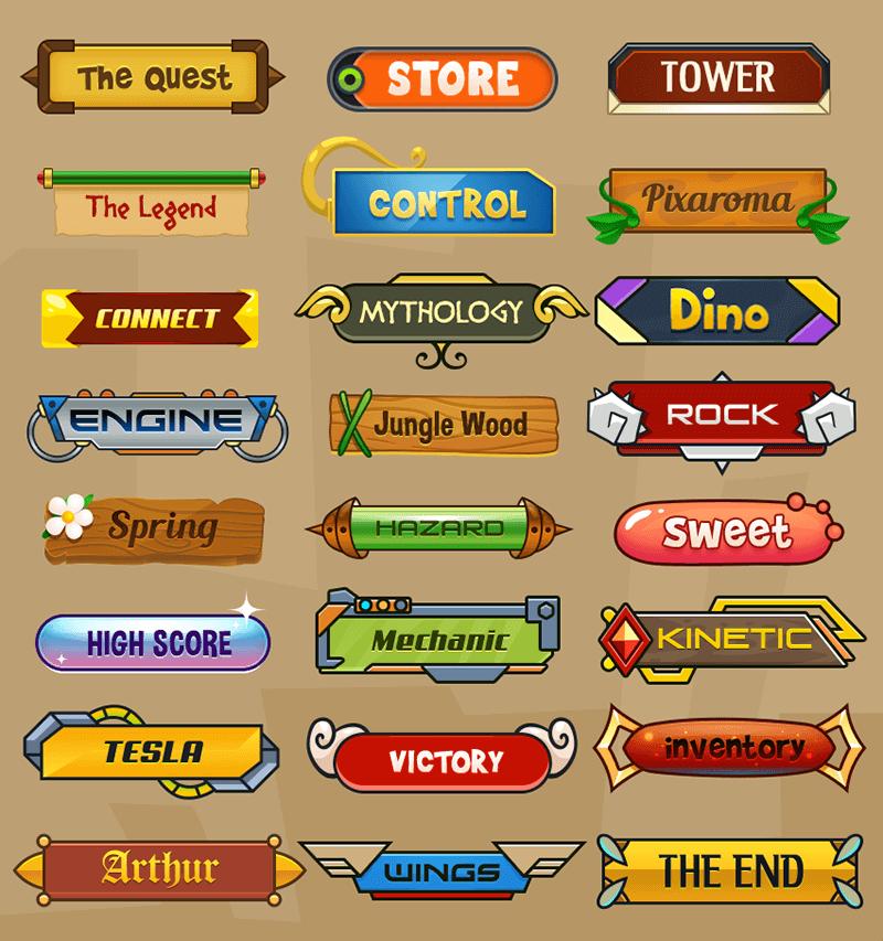 卡通游戏按钮psd分层素材图片