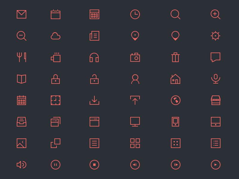 48个红边方形和圆形图标PSD下载