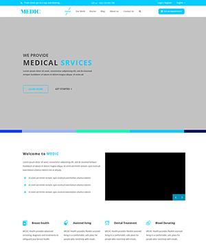 蓝色个人博客扁平化PSD模板