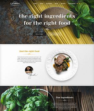 精美的LAMBDA美食网站PSD模