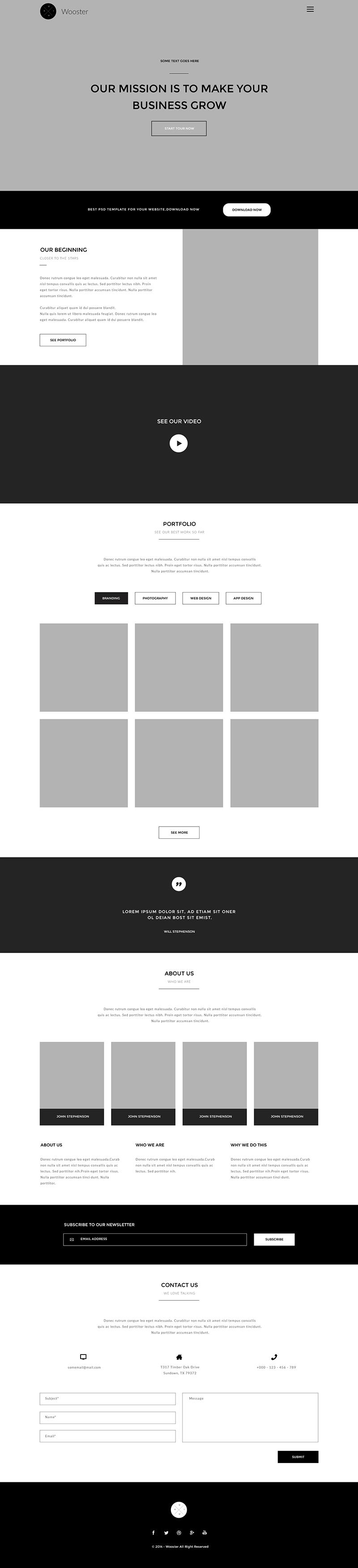 wooster设计网站PSD模板