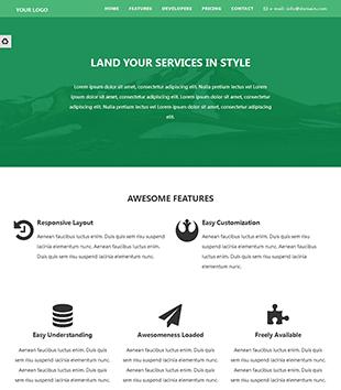 绿色技术服公司网站html响应式模板,可切换风格
