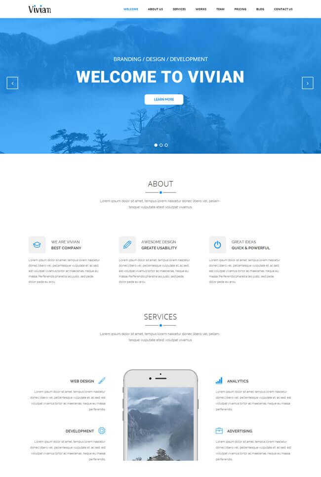 蓝色响应式单网页html模板
