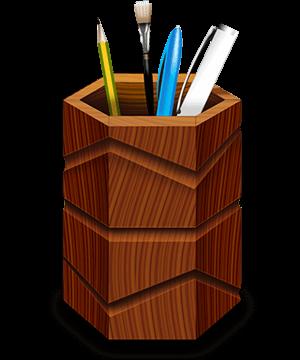 木质笔筒PSD素材