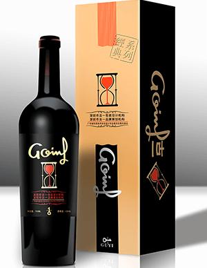 红酒酒瓶+包装盒PSD模板