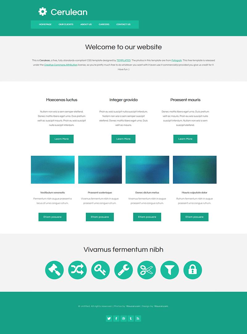 蓝色扁平化企业网站html模板