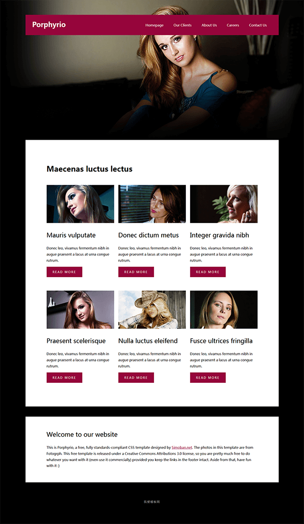 紫色扁平风格艺术摄影网页html模板