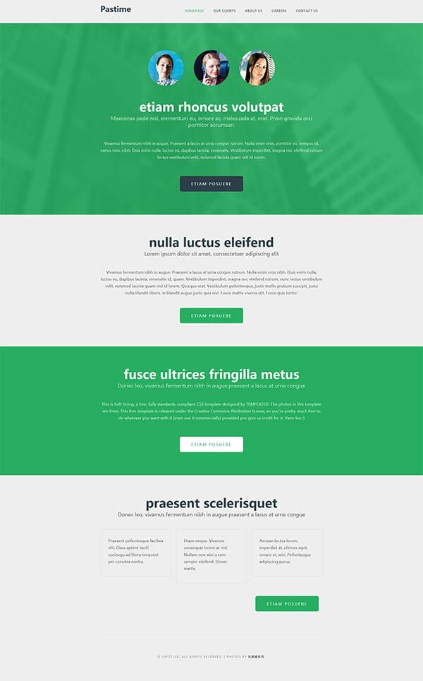 绿色大按钮风格的个人博客静态模板