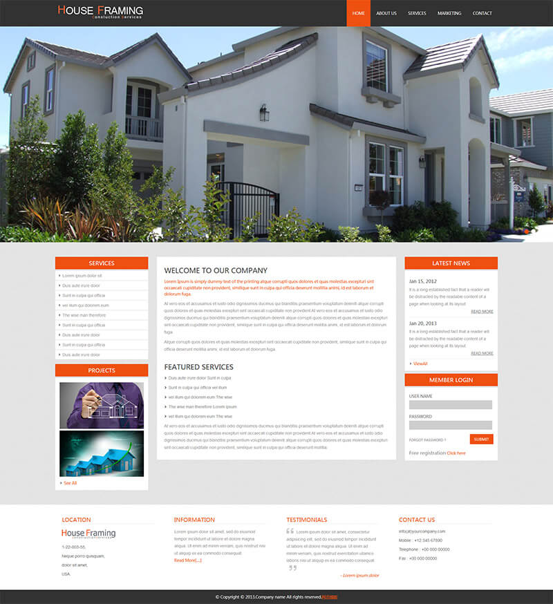 灰色响应式房产网站html模板