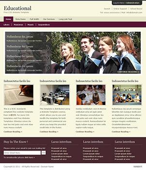 淡雅紫色教育网站html模板