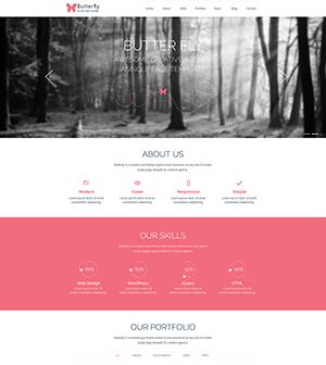 粉色Butterfly企业网站HTML模板