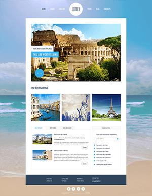 蓝色旅游网站html5模板