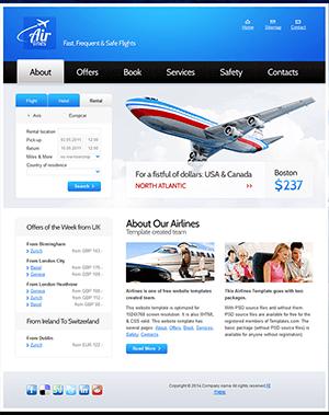 蓝色航空公司网站html5模板
