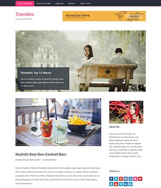 旅游日志个人博客响应式WordPress模板