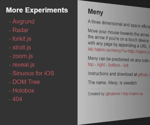 Meny.js三维立体空间导航菜单