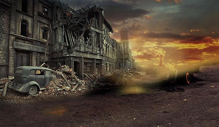 ps合成战争废墟场景教程