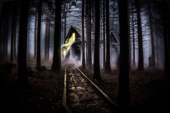 PS合成恐怖的林中小屋场景