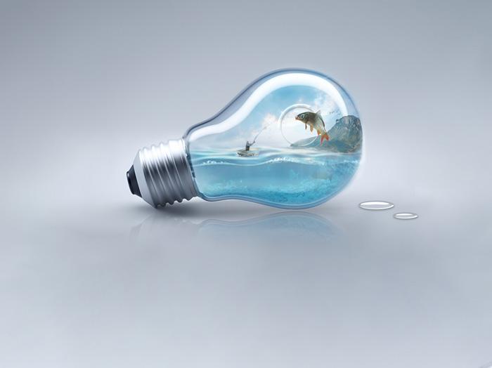 PS合成灯泡中的世界教程